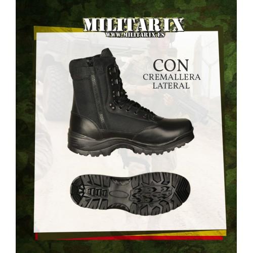 BOTAS TACTICAS BARBARIC NEGRA - CON CREMALLERA LATERAL